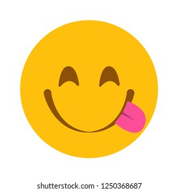 Slurping tongue out emoji vector