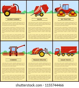 Slurry tanker with container and tractor driving. Posters set with text sample and machinery bale stacker, baler and combine, grain truck van vector