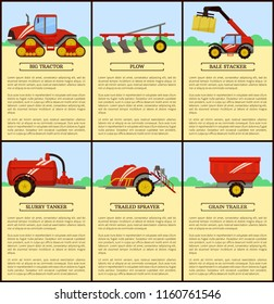 Slurry tanker machinery and combine, set of posters with text sample. Machines on farm, tractor and plow, plough device. Bale stacker and baler vector