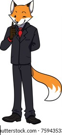Sly business fox in a black suit