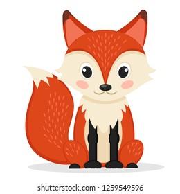 Sly Fox sitting on a white. Wild animal.