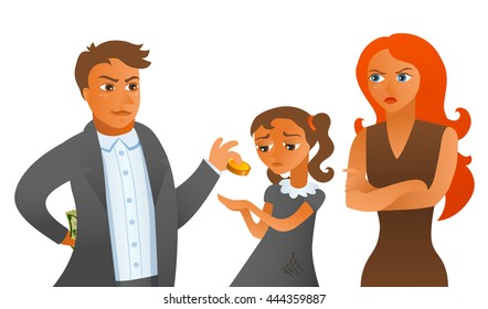 Sly husband doesn't want to pay big alimony to wife and poor crying child. tax avoidance. Vector illustration of cartoon man, woman and child