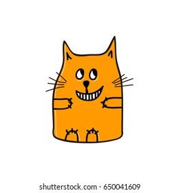 Sly orange cat. Vector illustration.