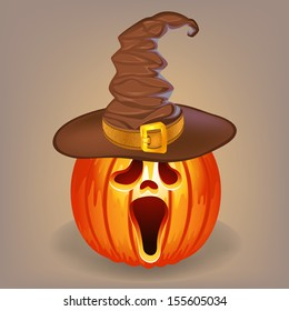 Sly pumpkin in a witch hat for Halloween