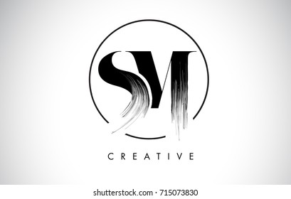 SM Brush Stroke Letter Logo Design. Black Paint Logo Leters Icon with Elegant Circle Vector Design.