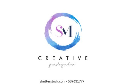 SM Circular Letter Brush Logo. Pink Brush with Splash Concept Design.
