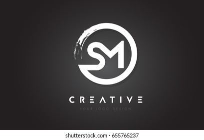SM Circular Letter Logo with Circle Brush Design and Black Background.