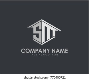 SM initial construction.real estate.home letter logo design