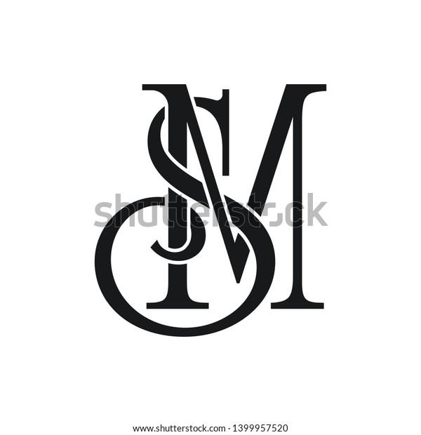 Sm Initial Letter Logo Vector Element Stock Vector