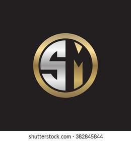 SM initial letters circle elegant logo golden silver black background