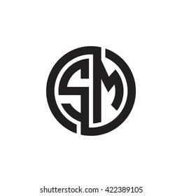 SM initial letters looping linked circle monogram logo