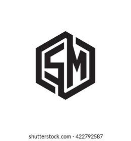 SM initial letters looping linked hexagon monogram logo