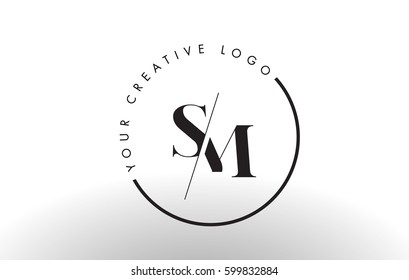 SM Letter Logo Design with Creative Intersected and Cutted Serif Font.