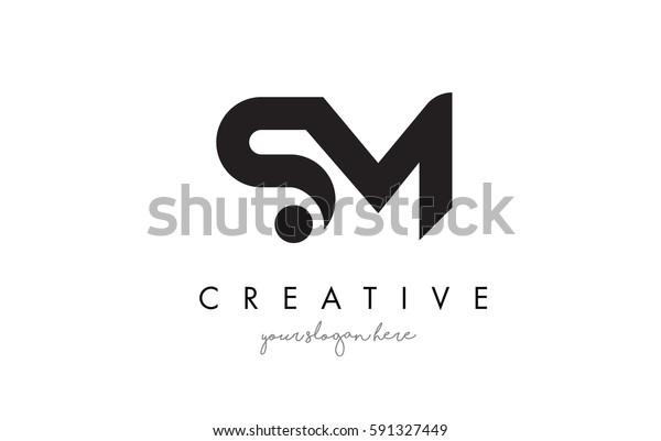 Sm Letter Logo Design Creative Modern Stock Vector (Royalty