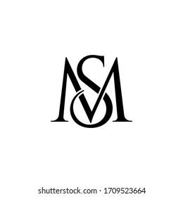 sm letter original monogram logo design
