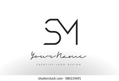 SM Letters Logo Design Slim. Simple and Creative Black Letter Concept Illustration.