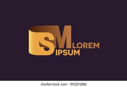 SM letters logo, S and M letters logo alphabet design.
