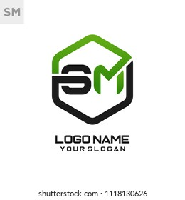 SM logo letter initial, Abstract polygonal Background Logo,