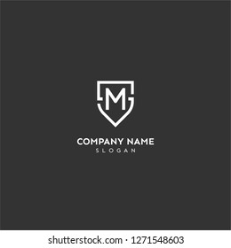 sm logo letter in shield shape design concept in white color and black background