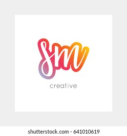 SM logo, vector. Useful as branding, app icon, alphabet combination, clip-art.