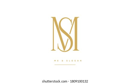 SM ,MS ,S,M  Abstract Letters Logo Monogram