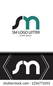 sm s m circle lowercase design of alphabet letter combination with infinity suitable as a logo for a company or business - Vector