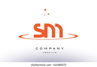 SM S M creative orange swoosh dots alphabet company letter logo design vector icon template