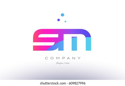 sm s m  creative pink purple blue modern dots creative alphabet gradient company letter logo design vector icon template