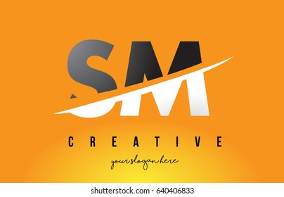 SM S M Letter Modern Logo Design with Swoosh Cutting the Middle Letters and Yellow Background.