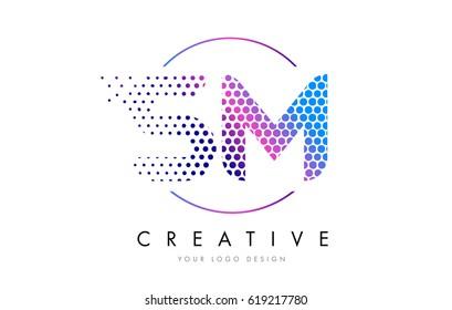 SM S M Pink Magenta Dotted Bubble Letter Logo Design. Dots Lettering Vector Illustration
