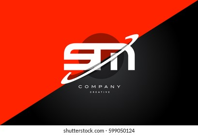 sm s m  red black white technology swoosh alphabet company letter logo design vector icon template