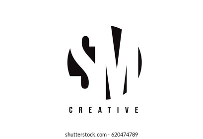 SM S M White Letter Logo Design with Circle Background Vector Illustration Template.