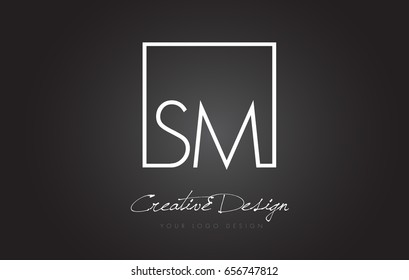 SM Square Framed Letter Logo Design Vector with Black and White Colors.