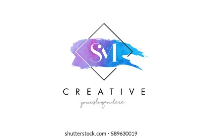 SM Watercolor Letter Brush Logo. Artistic Purple Stroke with Square Design.