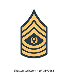 SMA sergeant major of army insignia of US forces isolated icon. Vector rank of non-commissioned officer armed forces, police enlisted military stripe. United States chevron, sign on uniform
