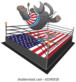 Smack down. Republican elephant does a swan dive on the Democrat donkey.