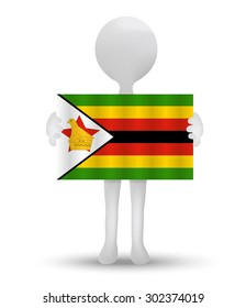 small 3d man holding a flag of Republic of Zimbabwe
