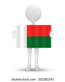 small 3d man holding a flag of Republic of Madagascar