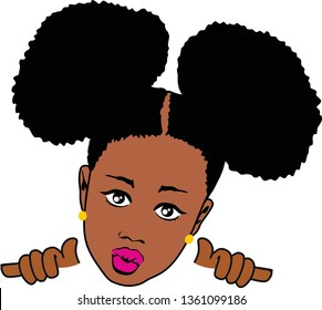 Small Afro Girl vector, Layered baby