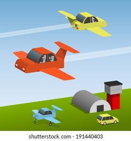 Small aircraft at the airport, color planes, flying cars, sightseeing flights, vector cartoon illustration