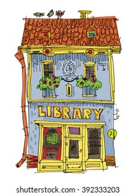 a small ancient building with a library or a bookstore on the first floor. cartoon