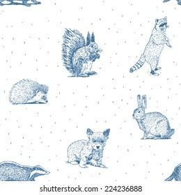 Small animals drawings seamless pattern