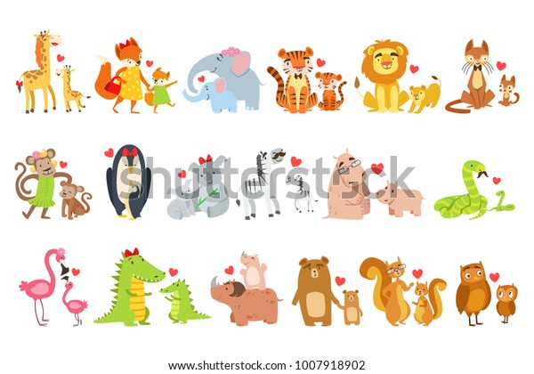 Small Animals Their Moms Illustration Set Stock Vector (Royalty ...
