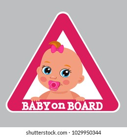 Small Baby Boy On Board Bumper Sticker Vector Illustration. Cartoon Infant Baby On Board Color Sign.