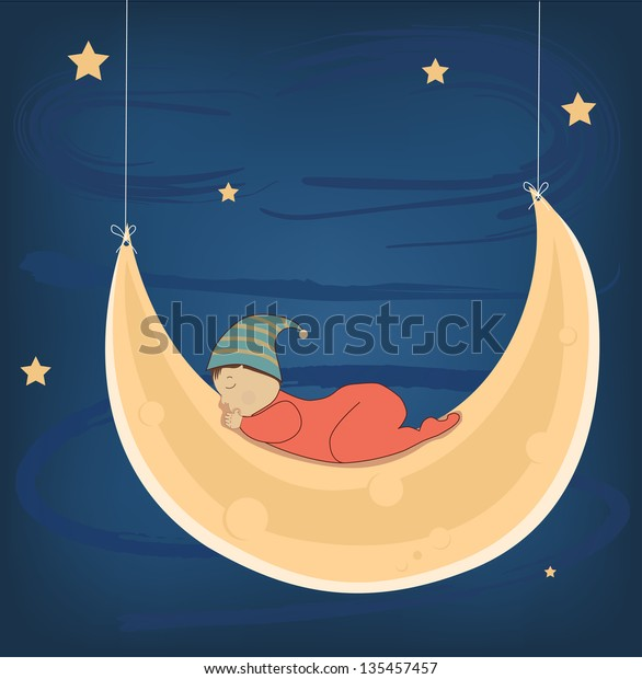 Small baby sleeping peacefully on the moon at night. Vector illustration
