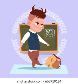 Small Bad School Boy Standing Over Class Board Hooligan Schoolboy Education Banner Flat Vector Illustration