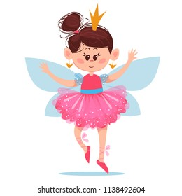 A small ballerina with wings and in the crown dances. On a white background. Vector illustration. In a childlike style.