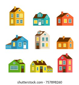 Small and big flat cartoon houses. Isolated vector set. Cute bright children illustration.