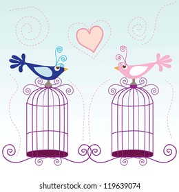 Small birds singing about love, vector illustration.