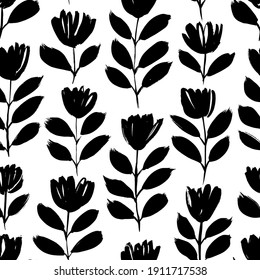 Small black brush flower vector seamless pattern. Hand drawn abstract botanical ink illustration. Chamomile or daisy branches painted by brush. Doodles for fabric, wrapping paper, wallpaper